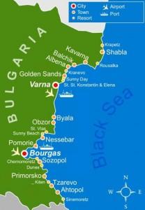 Harta litoralului bulgaresc al Marii negre