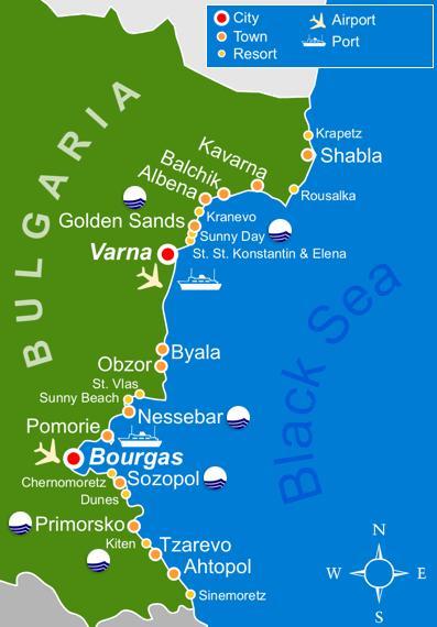 litoral Bulgaria harta